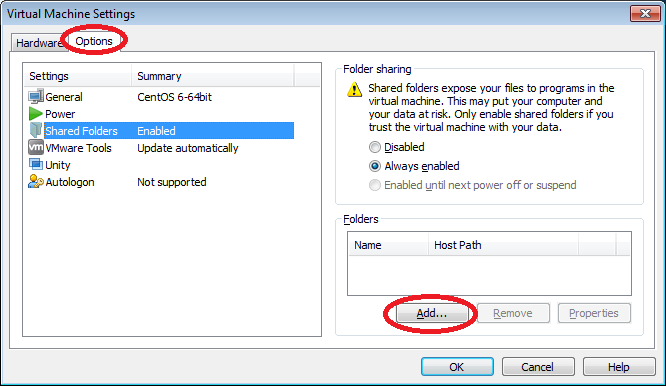 How to share a folder between the VMware host and guest