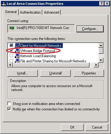 SOLVED] Vmware Server 2 network bridge is not working (missing